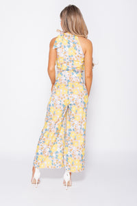 Yellow Floral Print Tie Neck Sleeveless Jumpsuit