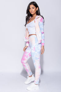 Multi Tie Dye Detail Hooded Zip Up Top & Jeggings