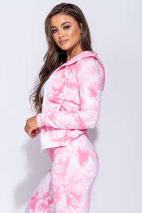 Pink Tie Dye Print Zip Front Hooded Lounge Set