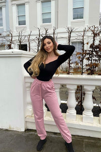 Pink Tie Waist Oversized Joggers