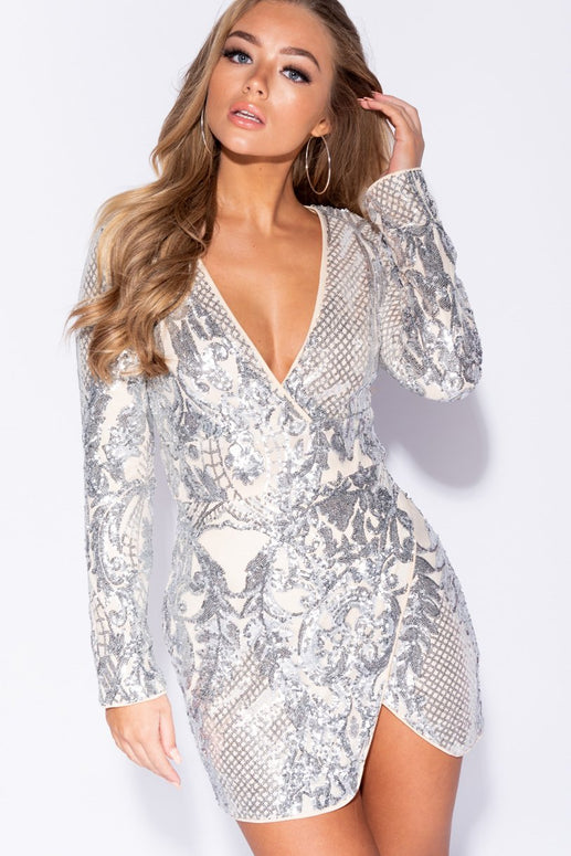 Image: Nude Baroque Sequin Plunge Front Long Sleeve Wrapover Dress