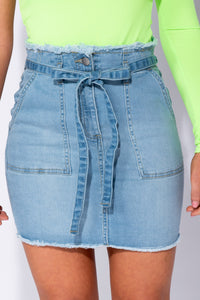 Light Blue Denim Frayed Hem Paperbag Waist Mini Skirt