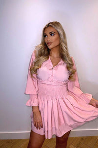 Pink Shirred Detail Flute Sleeve Smock Dress