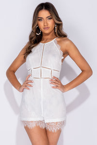 White Delicate Scallop Lace Cami Playsuit