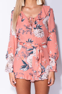 Pink Large Floral Frill Detail Waist Tie Long Sleeve Playsuit