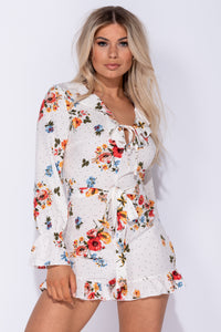 Cream Floral Polka Dot Frill Detail Tie Front Playsuit - Parisian-uk