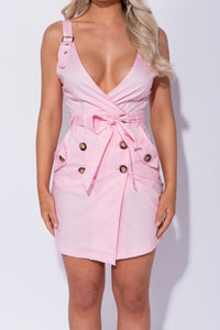 Baby Pink Button Trim Wrapover Front Mini Dress - Parisian-uk