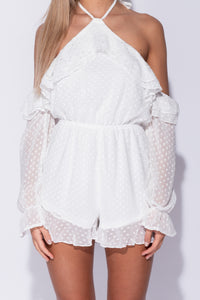 White Dobby Fabric Frill Detail Cold Shoulder Playsuit