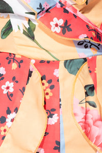 Yellow Orange Floral Frill Detail Wrap Front Playsuit