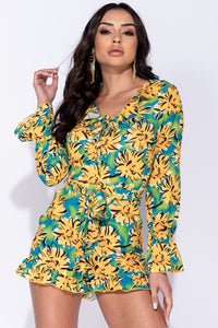 Yellow Floral Frill Detail Waist Tie Playsuit