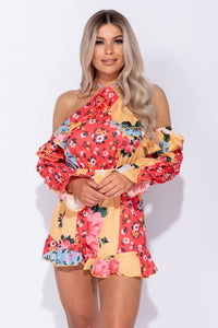 Multi Floral Frill Halter Neck Cold Shoulder Playsuit