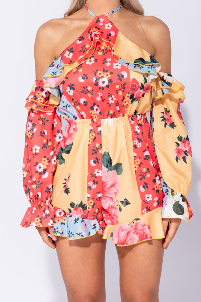 Image: Multi Floral Frill Halter Neck Cold Shoulder Playsuit