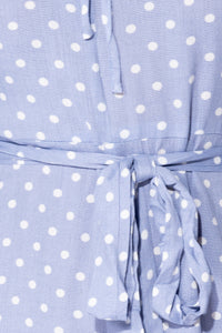 Blue Polka Dot Frill Detail Waist Tie Playsuit - Parisian-uk