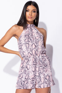 Pink Snake Print High Neck Frill Detail Playsuit