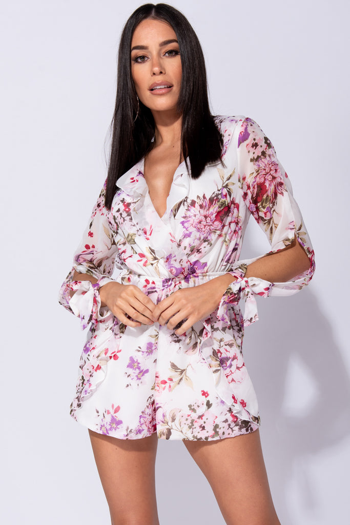 Image: White Floral Wrap Frill Slit Sleeve Playsuit