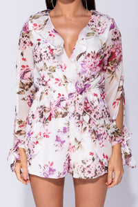 White Floral Wrap Frill Slit Sleeve Playsuit