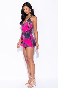 Pink Tie Dye Wrapover Front Self Belt Playsuit