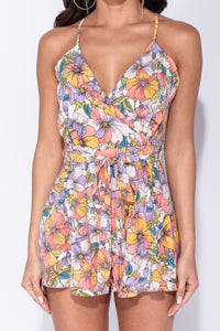 Multi Floral Self Belt Wrapover Front Playsuit
