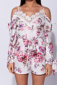 White Floral Lace Trim Tie Detail Cold Shoulder Playsuit