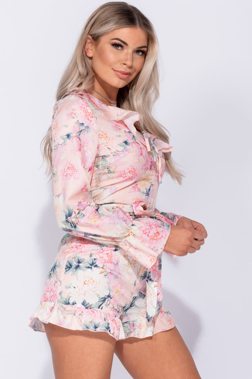 079b06e1066 ... Pink Floral Frill Detail Long Sleeve Belted Playsuit ...