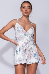 White Floral Wrap Front Cami Strap Playsuit