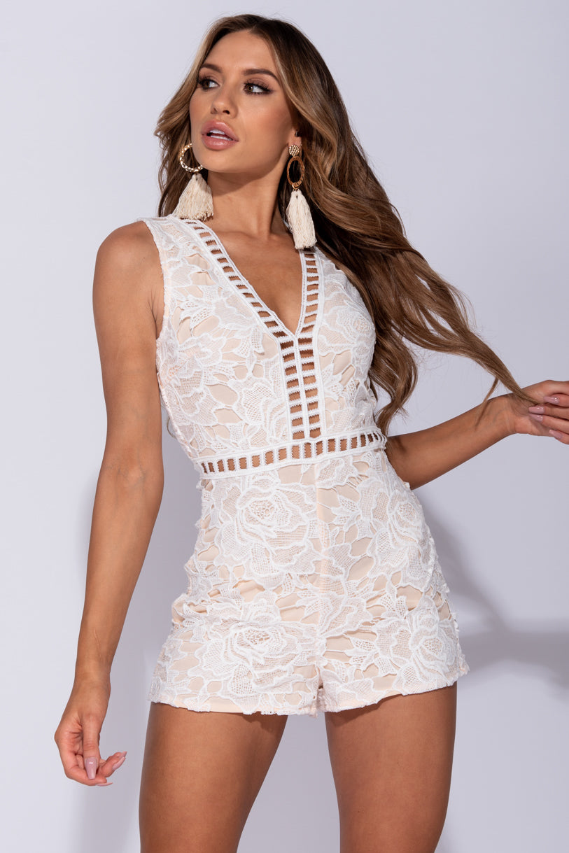 c19e0e658ad White Nude Lace V Neck Sleeveless Playsuit