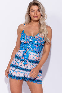 Blue Floral Print Lace Up Detail Tie Waist Playsuit - Parisian-uk