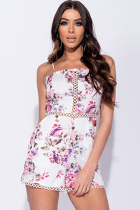 Pink Floral Print Lace Trim Tie Back Detail Playsuit