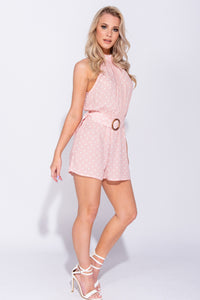 Pink Polka Dot Tortoise Shell Buckle Belted Halterneck Playsuit
