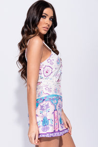 Pink Floral Border Print Lace Trim Strappy Playsuit