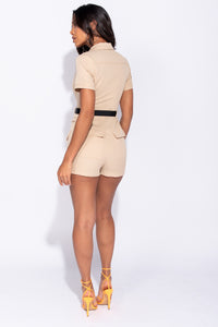 Beige Zip Front Utility Pocket Belted Playsuit - Parisian-uk
