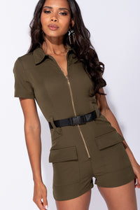 Khaki Zip Front Utility Pocket Belted Playsuit