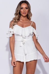 White Crochet Lace Trim Ruffle Trim Cold Shoulder Playsuit
