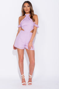 Lilac Frill Trim Cold Shoulder Cut Out Detail Playsuit