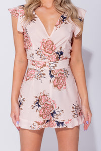 Peach Floral Print Frill Detail V Neck Tie Back Playsuit