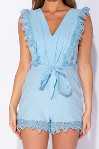 Light Blue Lace Trim V Neck Tie Waist Playsuit