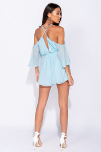 Blue Cold Shoulder Frill Trim Plunge Neck Playsuit