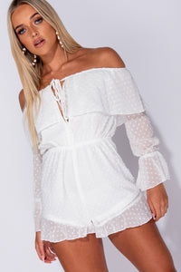 White Dobby Fabric Frill Trim Bardot Playsuit