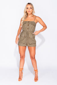 Khaki Patch Pocket Contrast Button Utility Playsuit