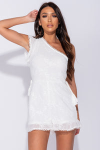 White Embroidered One Shoulder Tie Waist Playsuit