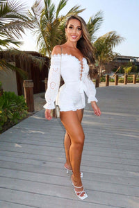 White Broderie Anglaise Lace Up Bardot Playsuit