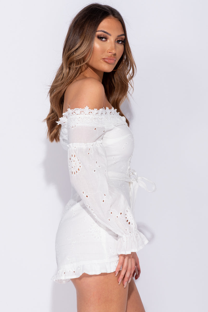 681b8c7b9 ... White Broderie Anglaise Lace Trim Bardot Lace Up Front Playsuit ...