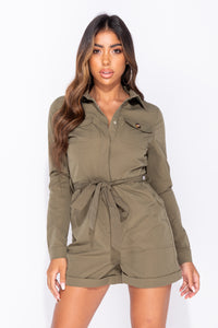 Khaki Long Sleeved Utility Self Belt Playsuit