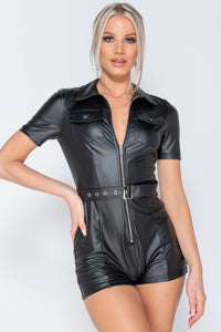 Black PU Zip Up Front Self Belt Short Sleeve Playsuit