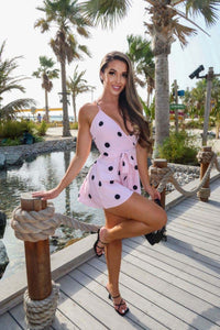 Pink Black Polkadot Wrapover Belted Playsuit