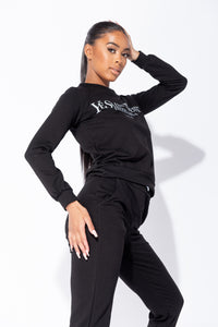 Black Ye Saint West Jumper & Jogger Loungewear Set