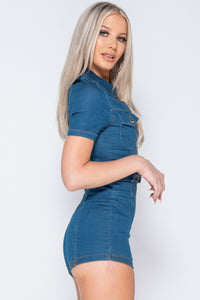 Mid Blue Short Sleeve Zip Front Stretch Denim Playsuit