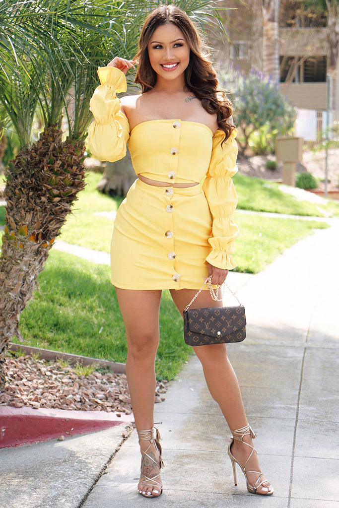 Image: Yellow Ruched Sleeve Button Front Bardot Top & Mini Skirt