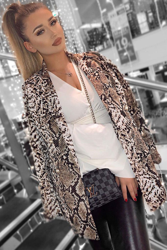 Image: Brown White Snake Print Double Breasted Blazer - Parisian-uk