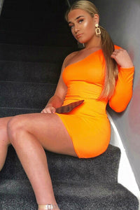Neon Orange One Shoulder Long Sleeve Bodycon Mini Dress